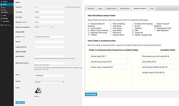 Backend user profile