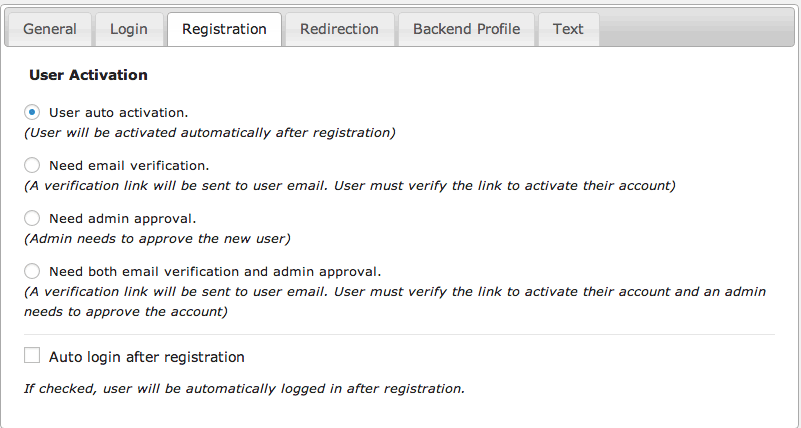 Admin approval / email verification