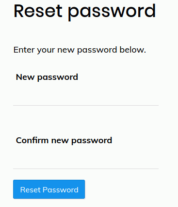 Landing Page of Password Reset